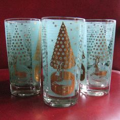 Mid Century Blue And Gold Christmas Glasses