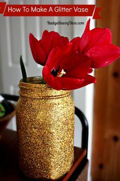 How To Make A Glitter Vase | Budget Savvy Diva