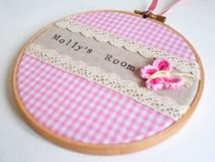 Custom Personalised Girls Bedroom Room Name Sign, Pink Gingham Lace & Crochet Butterfly, Embroidery Hoop Art, Kids Room, Baby Nursery Decor Embroidery Hoop Nursery, Embroidery Hoop Crafts, Etsy Embroidery, Cross Stitch Embroidery, Crochet Butterfly, Butterfly Embroidery, Kids Room Art, Art Kids, Embroidery For Beginners