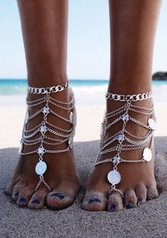 #barefoot #sandal Silver Multi-Tiered Coin Barefoot Sandal