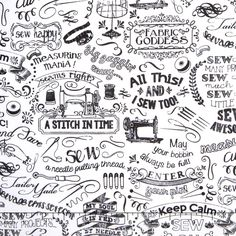 Sewing Words Chalk Black White Cotton Fabric Fat Quarter Or Custom Listing Coffee Shop Branding, Timeless Treasures Fabric, Quilt Material, Simple Illustration, Cartography, White Cotton, Pattern Design, Cotton Fabric, Black And White