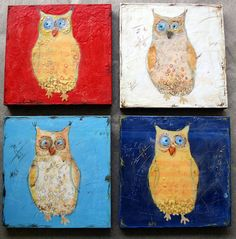 Items similar to The red owl - mixed media encaustic original on Etsy Red Owl, Bird Art, Green Eyes, Mixed Media, Super Cute, Birds, The Originals, Owls, Random Stuff