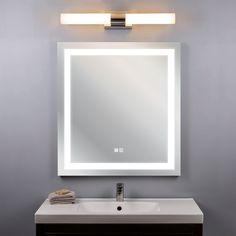 Bathroom Mirrors With Lights, Backlit Bathroom Mirror, Contemporary Bathroom Mirrors, Mirror With Led Lights, Lighted Vanity Mirror, Led Mirror, Bathroom Light Fixtures, Bathroom Lighting, Small Bedroom Vanity