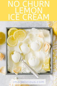 No Churn Lemon Ice Cream is refreshing, smooth, and creamy. It takes only a few minutes to make and just a few ingredients. No ice cream maker needed! Super easy and delicious frozen dessert Easy Baking Recipes, Lemon Recipes, Good Healthy Recipes, Ice Cream Recipes, Healthy Food, Amazing Recipes, Vegetarian Recipes, Frozen Desserts, Easy Desserts