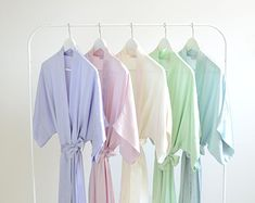 Samantha Silk Kimono Bridal Robe Bridesmaids Robes in Spring Pastel Colors - lavender, rose pink, ivory, mint green, seafoam