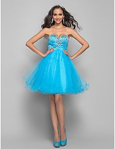 A-line Sweetheart Short/Mini Tulle Cocktail/Prom Dress (635900)