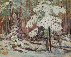 Tom Thomson Snow in the Woods 1916 Oil on Wood 21.9 x 27 cm