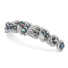 An exquisite Tahitian pearl and diamond Cartier bracelet dating from the 1950s, which once belonged to Sita Devi, the Maharani of Baroda