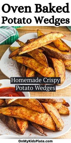 Crispy on the outside, these oven baked potato wedges are so delicious! The outside is crunchy and the inside is so fluffy! Perfect for dinner for a vegetable side, or as an appetizer this simple recipe will be a family favorite.