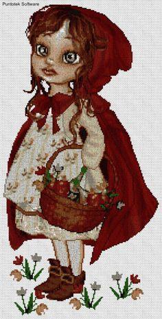 caperucita roja EN PUNTO DE CRUZ,  Cross stitch pattern