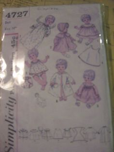ORIGINAL Doll Clothes PATTERN 4727 Tiny Tears Betsy Wetsy Sweetie Pie 16 inch #PatternforDollClothes #Simpliticy4727