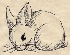 Embroidery Designs at Urban Threads - Bunny Sketch or maybe on a rock? Machine Embroidery Patterns, Hand Embroidery Designs, Embroidery Stitches, Folk Embroidery, Embroidery Tattoo, Embroidery Jewelry, Embroidery Ideas, Animal Drawings, Art Drawings