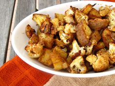 Spicy Baked Cauliflower and Sweet Potatoes (minimize sweet potatoes to create low glycemic meal or side) vegan, dairy free, gluten free