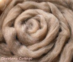 Spinning Wool Roving Fiber CHAI TEA 5 FEET Polwarth Light Brown Felting Dyeing #DreamCatcherYarns