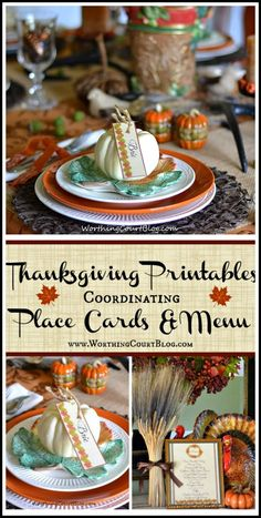 Free Coordinating Thanksgiving  Place Cards and Menu Printables