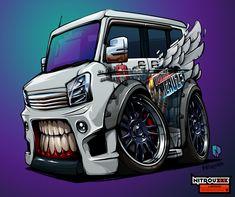 Suzuki Every Van of Anton Gorlov and amazing vinyl work by Vinyl Madness BeastedUp! Suzuki Wagon R, Suzuki Cars, Suzuki Every, Cartoon Car Drawing, Car Animation, Cool Car Drawings, Hot Rods, Monster Car, Car Posters
