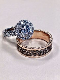 Set of halo diamond ring for her and cognac diamond band for him.