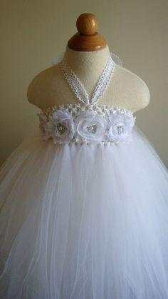 Robe de fille de fleur Robe tutu blanc par Theprincessandthebou
