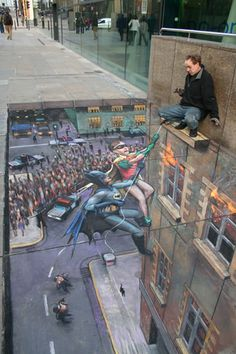 Pavement chalk 3-D: Julian Beever brings Batman & Robin to life in this amazing drawing