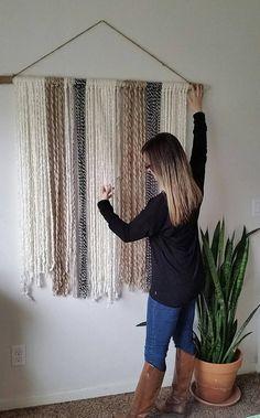 Extra Large Yarn Tapestry, Yarn Wall Hanging, Ivory, Black and Beige – Suzanne Bacon – Diy Yarn Wall Art, Yarn Wall Hanging, Diy Wall Art, Hanging Storage, Wall Hangings, Wood Wall Decor, Boho Bedroom Diy, Bedroom Decor, Diy Organizer
