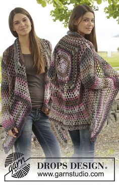 Crochet DROPS jacket with lace pattern in Big Delight. Size: S - XXXL