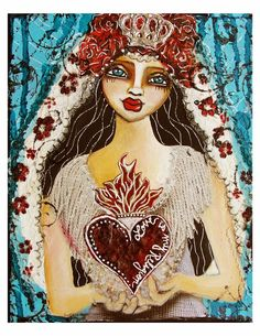 Love Is My Religion  Fine Art Print of Mixed Media painting