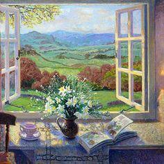 Stephen Darbishire ritish Interiors and Landscape painter Tutt'Art@ Window View, Open Window, Window Art, Room Window, Art And Illustration, Illustrations, Creation Photo, Fine Art, Oeuvre D'art