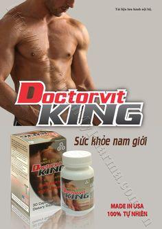 DOCTORVIT KING - SỨC KHỎE NAM GIỚI - Hãng sản xuất: TNHH MINH ANH - Mã sản phẩm: DOCT-0001 - Giá: 360.000 Đ  DOCTORVIT KING - SỨC KHỎE NAM GIỚI: Giúp tăng tổng hợp hoc môn sinh dục #testosteron và #estrogen tự nhiên, giúp cải thiện sức khoẻ tình dục cho nam giới.  #xuấttinhsớm #tăngcườngsứckhỏenamgiới #ThiệnMỹPharma #NhàThuốcThiệnMỹ #ThựcPhẩmChứcNăng #DoctorvitKing
