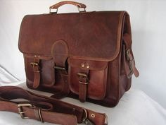 Vintage Crafts Vintage Genuine Leather Laptop Briefcase Messenger Satchel Bag -- You can find out more details at the link of the image. (This is an Amazon Affiliate link and I receive a commission for the sales)