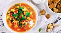 A low FODMAP vegetable and chickpea soup recipe by Monash FODMAP