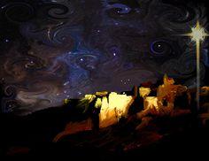 Starry Starry Bethlehem Night Painting