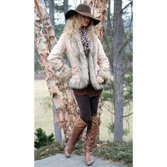 Tasha Polizzi Fall Winter 2015 Luxe Jacket - western wear, chic,... ($204) ❤ liked on Polyvore featuring outerwear, jackets, faux fur jacket, brown jacket, faux suede jacket, tasha polizzi jacket and western jacket