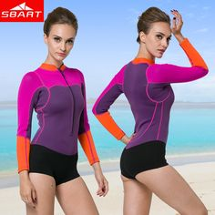 SBART New Arrival Women Neoprene Wetsuit 2MM One Piece Long Sleeve Neopreno Swimsuit  Womens Surf boating 497b02ced