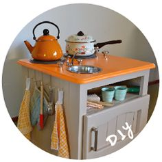 Paint On The Ceiling: How to Make Your Own Play Kitchen from old nightstand.