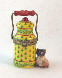 CUTE SIAMESE KITTY CAT KITTEN W COLORFUL MILK JUG NEW FRENCH LIMOGES BOX in Trinket Boxes | eBay