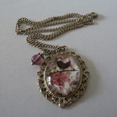 Bird & flowers necklace