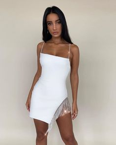 Sexy Summer Dresses, Sexy Dresses, Short Dresses, Fashion Dresses, White Outfits, Girl Outfits, Party Dress Outfits, Embellished Dress, The Dress