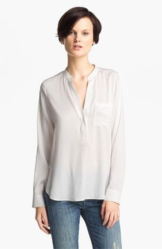 Vince Half Placket Silk Blouse available at Nordstrom