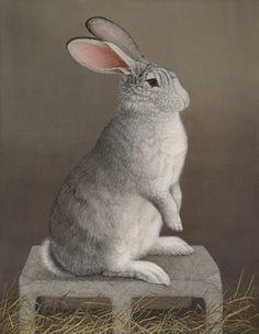 Mari Kloeppel | Schubert the Flemish Giant Rabbit on His Cinder Block