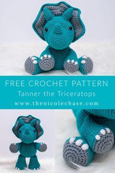 Crochet Dinosaur Pattern Free, Crochet Amigurumi Free Patterns, Crochet Animal Patterns, Crochet Bear, Stuffed Animal Patterns, Cute Crochet, Crochet Crafts, Crochet Dolls, Crochet Projects