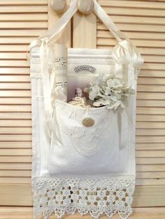The Feathered Nest ~: Making pretty things ~ – Shabby Chic & Vintage – lace Fabric Art, Fabric Crafts, Sewing Crafts, Sewing Projects, Shabby Vintage, Vintage Crafts, White Embroidery, Vintage Embroidery, Embroidery Designs
