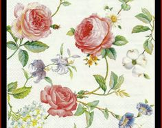 4 Decoupage Paper Napkins - Roses - Flowers -  Use For Decoupage, Mixed Media, Scrapbooking, Collage And Altered Art Projects