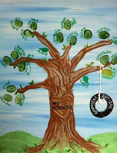 Fingerprint Tree Teacher Tree 11x14 Canvas by GiftsbyGaby, $38.00