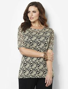 An effortlessly elegant look, this duet top is covered in a romantic floral lace for beautiful style. A coordinating solid tank layers underneath to make the lace pop and to create an easy, double-layer look. Keyhole opening on the back has a tiny button closure at the top. Complete with elbow-length sleeves and side slits at the hem. Catherines tops are perfectly proportioned for the plus size woman. catherines.com