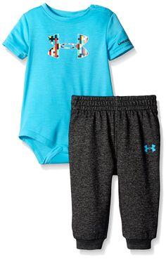 Under Armour Baby Pixel Zoom Big Logo Set, Meridian Blue, 3-6 Months