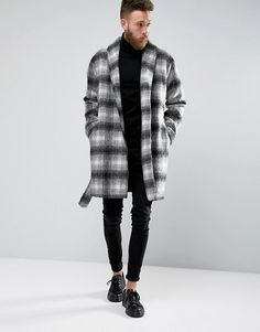 ASOS | ASOS Checked Overcoat With Belt in Black and White