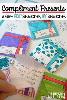 "This ""Compliment Presents"" activity allows students to create free, meaningful, gifts for their classmates (and receive several too!), all the while building each other up with compliments and helping develop the caring community we teachers are always st Holiday Activities, Classroom Activities, Classroom Ideas, Preschool Bulletin, Teambuilding Activities, Vocabulary Activities, Group Activities, Writing Activities, Daily 5"