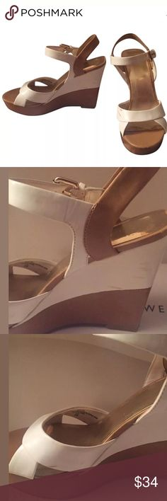 Nine West two color white cream wedges Sz 6 Super cute and comfortable. All signs of wear are shown in the photos. As can be seen most signs are ok the interior of the shoes so not noticeable when worn ;) Nine West Shoes Wedges