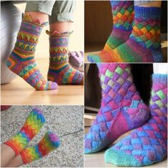 Diy Rainbow Color Patch Entrelac Knitting Socks With Patterns . DIY Rainbow Color Patch Entrelac Knitting Socks with Patterns techniques used in knitting - Knitting Techniques Crochet Socks, Knitted Slippers, Knit Or Crochet, Knitting Socks, Knit Socks, Crochet Granny, Free Knitting, Knitting Blogs, Knitting Projects