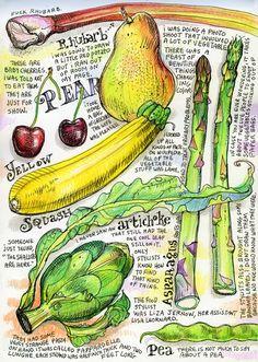sketchbook, art journal inspiration - neat drawing of vegetables